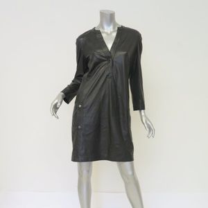 Vince Leather Dress Black Size Small Half-Placket